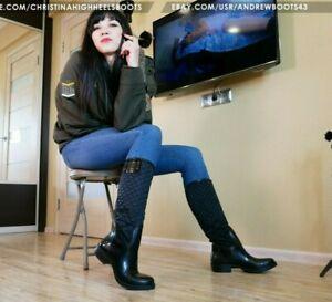 GIANMARCO LORENZI EU 42 US10,5 big size rubber and satin rain women boots VIDEO