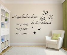 Wandtattoo Augenblicke in denen die Zeit stillstand mit Wunsch Datum Wohnzimmer