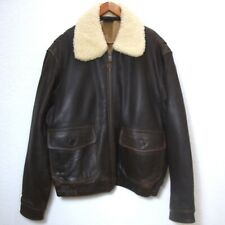Leather BOMBER JACKET Lamb Shearling Collar Brown PILOT Lined Zip Men Large
