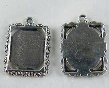 100pcs Tibetan Silver Rectangle Photo Frame Charms 25x18.5mm 689