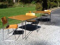 Vtg Mid Century G. F. David Rowland 40/4 -Chrome /Wood 4 Chairs & 2 Tables -Nice