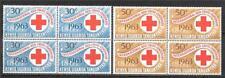 BRITISH KENYA, UGANDA & TANZANIA 1963 RED CROSS BLOCKS OF 4 SC # 142-143 MNH