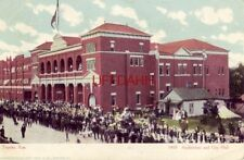 pre-1907 TOPEKA, KS. AUDITORIUM AND CITY HALL crowd of people in street