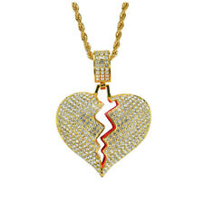 "Iced Out Gold Broken Heart Pendant 3mm 24"" Stainless Steel Rope Chain Necklace"