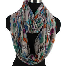Women's Multicolor Feathers Pattern Eyelash Fringe Long Shawl/Infinity Scarf New