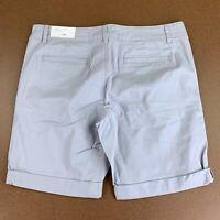 LOFT Women's Size 14 Misty Morning Gray Twill Bermuda Roll Shorts NWT