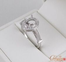 Diamond Engagement Semi Mount Ring 5.5x7.5mm Oval 14kt White Gold Natural