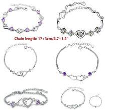 "8"" Silver Tone Bracelet Heart Link Chain Purple Topaz CZ Crystal Gift Box"