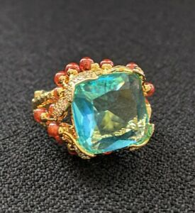 Designer Inspired Simulated Aquamarine/ Ruby/ Diamond statement cocktail ring