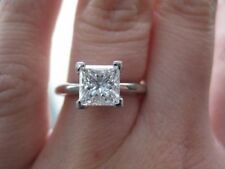 Solitaire Engagement Ring 10K White Gold 4 Ct Near White Princess Cut Moissanite