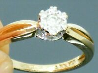 9ct gold Diamond Solitaire Hallmarked Ring size I