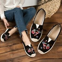 Chinese Classical Women's Embroidered Loafers Casual Canvas Flat Shoes Pumps BN