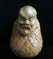 "Q4149 - 2 "" Hand Carved Boxwood Carving Netsuke : Damo Monk"