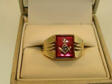 VINTAGE 10K SOLID GOLD APPROX. 2+CTW RUBY MASONIC SYMBOL PINKIE RING!  SZ 6.25