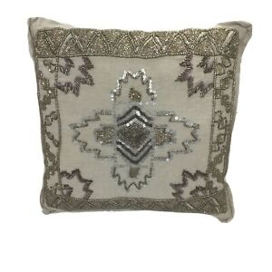 Unbranded Cotton Natural Beige Beaded Sequined Throw Pillow 12 X 12