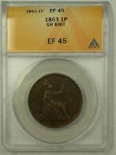 1863 Great Britain 1 Penny Coin Queen Victoria ANACS EF 45