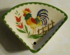 VINTAGE PIE SHAPED  WALL POCKET POTTERY PLANTER ROOSTER DECAL