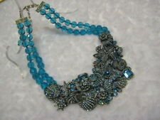 "HEIDI DAUS ""Seashore Chic"" (Blue) 16"" L.Bib Drop Necklace(Orig.$369.95)"