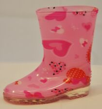 Toddler's Rain Boots.Pretty Colors/Designs,Fuchsia with Pink Hearts&Bows,Size 9