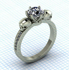 1.76 CT White Round Cut Diamond Gothic two Skull Engagement Ring in 925 Silver