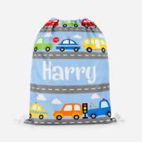 Personalised Cars Transport Boys Children's PE Pump School Kids Drawstring Bag