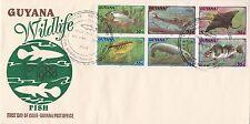 GUYANA 1980 FIRST DAY COVER / FISH - PIRIA - HASSAR - DEVIL RAY - FLYING PATWA