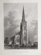 1840 Antique Print; St Mary's Church, Saffron Walden, Essex after Bartlett