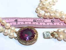 ! BIG 17Ct Color Change Sapphire 14K clasp Akoya saltwater pearl RARE necklace