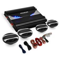 VOITURE TUNING PACK SONO AUTO 4 x HAUT PARLEURS AMPLI LED 4 CANAUX SET DE CABLES