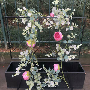 Artificial Eucalyptus Garland Champagne Roses Flower Home Wedding Decor Floral