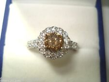 PLATINUM CHAMPAGNE BROWN DIAMOND ENGAGEMENT RING 1.66 CARAT HANDMADE HALO PAVE