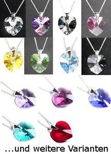 Farbe wählen! Silber 925 Hals-Kette mit Swarovski® Kristallen Herzchen Herzkette