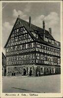 Heinrichs bei Suhl Ansichtskarte 1940 gelaufen Straßenpartie am Rathaus Fachwerk