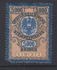 Stempelmarke 5000 Kronen - linkes unteres Eck fehlt -  Gummi nicht sauber