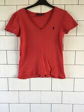 WOMEN'S RALPH LAUREN SPORT VINTAGE RETRO RED SHORT SLEEVED T SHIRT TOP LARGE