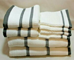 Hotel Vendome Spa Collection Eight Piece White/Gray Bathroom Towel Set NWT