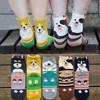 Fashion Women Men Unisex Cartoon Dog Ankle Socks Cotton Hosiery Casual Stockings
