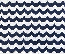 Navy/White WAVE FABRIC cotton blue scalloped nautical seaside stripe quilt 1m