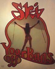 "1970's Vintage Roach Iron On "" Ski Your Buns Off "" (Bin #24) Full Nude Woman"