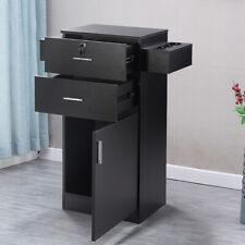 Locking Beauty Salon Storage Cabinet Hair Dryer Holder Stylist Equipment Black