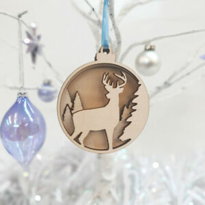 Stag Christmas Bauble - Pack of 2 Layered Hanging Tree Decoration Laser Cut