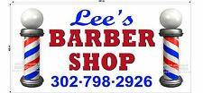 BIG BANNER 4' X 8'  BANNER CUSTOM BARBER SHOP NAME PHONE NUMBER NEW DESIGN! pole