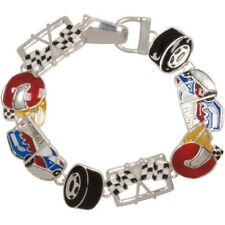 NEW Colorful Enamel Race Day Car Themed Magnetic Clasp Bracelet in Silvertone