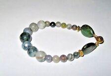 Gemstone jewellery Bracelet GREEN MOSS AGATE & JASPER beaded bracelet 19cm long