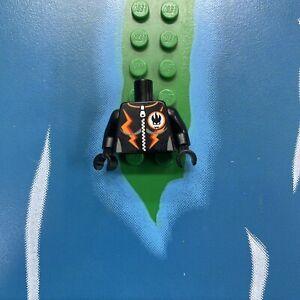 Lego Minifig RACER BLACK Torso AGENT VILLAIN Orange Stripes Zipper