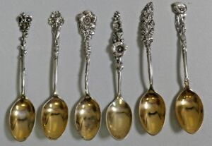 Reed & Barton Gold Wash & Sterling Coffee Spoons In Harlequin Design - Set Of 6