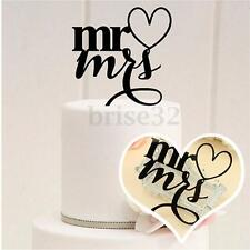 Acrylic Mr & Mrs With Heart Wedding Cake Toppers Silhouette Party Favors Decor