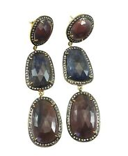 Red Blue Pink Sapphire Earrings Natural Raw Triple 14k Gold Filled Post Stud