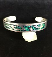 Vintage Sterling Silver Bracelet Inlay Malachite Mosaic Cuff Taxco Petite Heavy