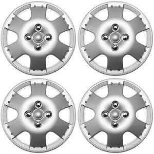 4 PC Silver Hub Caps Fits 2000-2005 Toyota ECHO (Metal Clip) Wheel Cover Cap